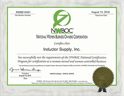 Inductor Supply is Certified Woman Owned